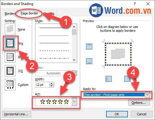 Chỉnh kích thước khung viền trong Word 2010