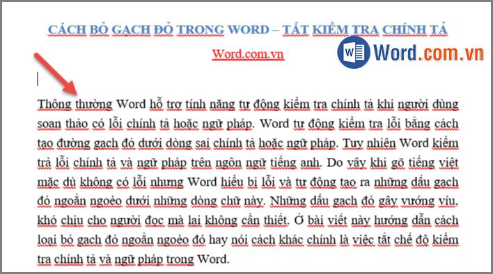 Cách bỏ gạch đỏ trong Word - Tắt kiểm tra chính tả trong Word