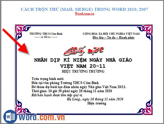 Cách trộn thư (Mail Merge) trong Word 2010, 2007