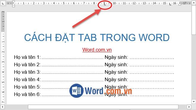 Cách đặt Tab trong Word