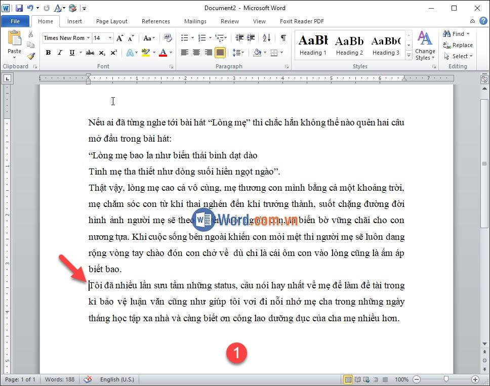 Đặt con trỏ chuột tại vị trí đoạn văn bản muốn ngắt trang 2