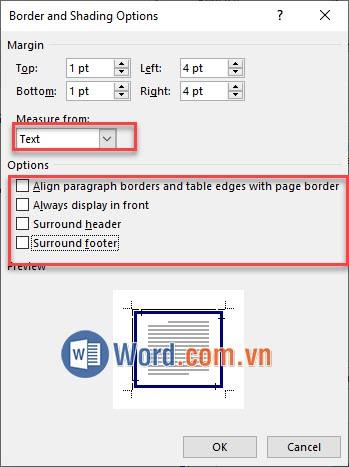 Tùy chỉnh trong Border and Shading Options 2