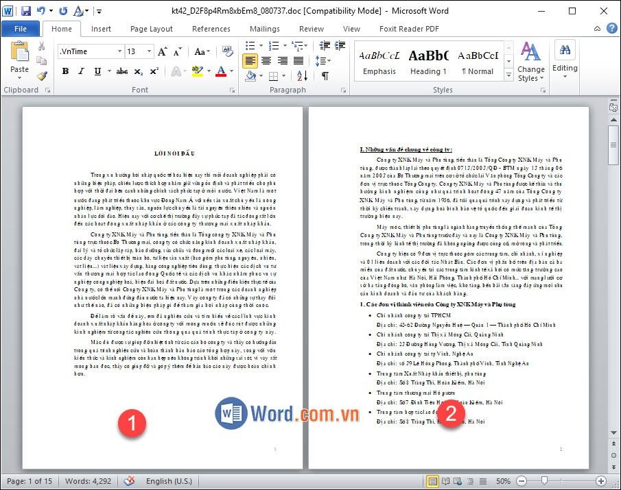 Văn bản 2 trang
